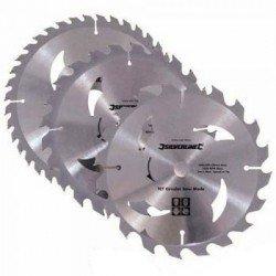 Juego de 3 sierras circulares de widia para madera de 184 mm.