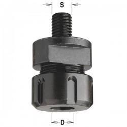 Portabrocas adaptable a eje tupí M-16 para trabajar con herramienta de 3-6-6,35-8-10-12 y 12,7 mm.