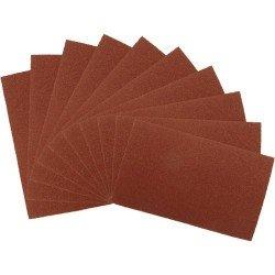 10 pliegos de lija grano 120 en óxido de aluminio de 230 x 280 mm.