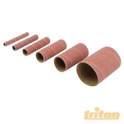 Juego 6 canutos de 115 mm. y diversos diámetros para lijadora oscilante TRITON grano 80