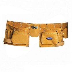 Cinturón doble portaherramientas en piel con 8 bolsillos