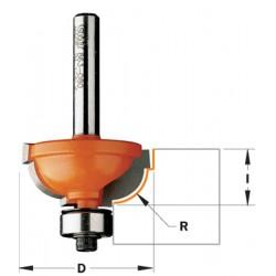 Fresa para perfilar radio 8 convexo y doble rebaje con mango de 12
