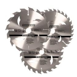 Juego de 3 sierras circulares de widia para madera de 160 mm.