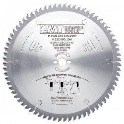 Sierra circular de 250 mm. para el corte de materiales plásticos y metacrilato