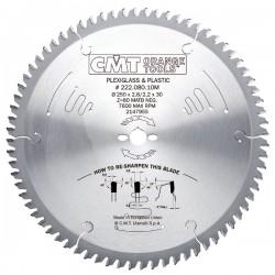 Sierra circular de 300 mm. para el corte de materiales plásticos y metacrilato
