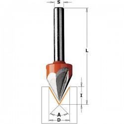 Fresa punta de LASER con ángulo 60º y mango de 8 mm.