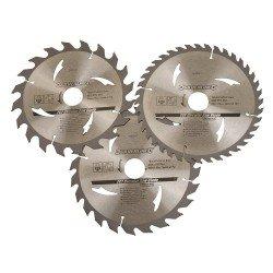 Juego de 3 sierras circulares de widia para madera de 190 mm.