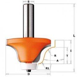 Fresa radio cóncavo 6,35-12,7 para Corian con mango 12 mm.