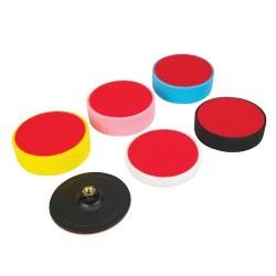 Juego de 5 esponjas de pulido + plato de velcro de 150 mm.
