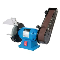 Esmeriladora lijadora con muela de 150 mm.