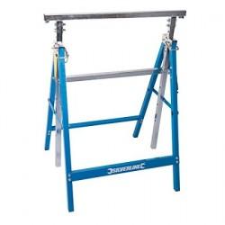 Caballete plegable regulable en altura y resistente hasta 150 kg.