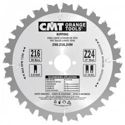 Sierra circular de Widia para madera ANTI-RETROCESO de 250 mm. y 24 dientes