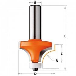 Fresa de radio cóncavo de 1 con mango 8 mm. para Corian
